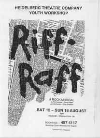Program Photos Poster, Riff-Raff by Phil Sumner, Danny Nash, Jan McDonald and Greg Sneddon directed by Diana Nicol