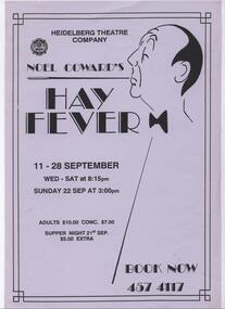 Program Photos Newsletter Poster Articles Memorabilia, Hay Fever by Noel Coward directed by Doug Bennett
