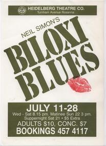 Program Photos Newsletter Poster, Biloxi Blues by Neil Simon directed by Doug Bennett