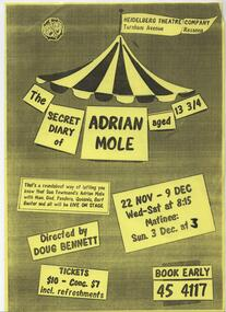 Program Photos Review Newsletter Poster Articles, The Secret Diary of Adrian Mole Aged 13 and 3/4 by Sue Townsend directed by Doug Bennett