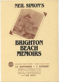 Program Photos Newsletter Poster Articles, Brighton Beach Memoirs by Neil Simon directed by Doug Bennett