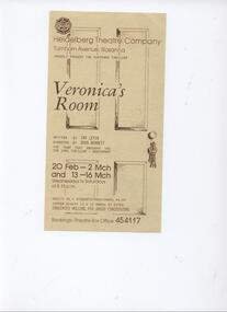 Program Photos Review Newsletter Poster Articles, Veronica's Room by Ira Levin directed by Doug Bennett