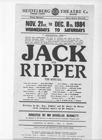 Program Photos Poster Articles, Jack the Ripper by Ron Pember and Denis De Warne music by Ron Pember directed by Doug Bennett