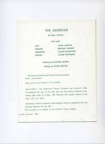 Program Photos Newsletter Poster Articles, The Exorcism by Don Taylor directed by Richard Keown