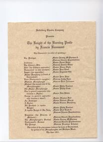 Program Photos Newsletter Poster Articles, Knight of the Burning Pestle by Francis Beaumont directed by Alice Bugge