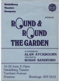 Program Photos Review Newsletter Poster, Round and Round the Garden by Alan Ayckbourn directed by Susan Sandford
