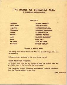 Program Photos Newsletter Article Memorabilia, The House of Bernarda Alba by Frederico Garcia Lorca directed by Judith Muir