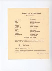 Program Photos Newsletter, Death of a Salesman by Arthur Miller directed by Alice bugge