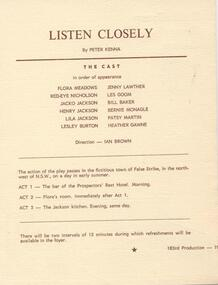 Program Newsletter, Listen closely by Peter Kenna directed by Ian Brown
