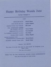 Program, Happy birthday Wanda Jane by Kurt Vonnegut Jr. directed by Ian Brown