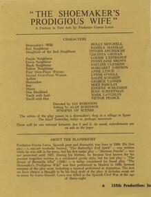 Program Photos Articles, The shoemaker's prodigious wife by Frederico Garcia Lorca directed by Ian Robinson