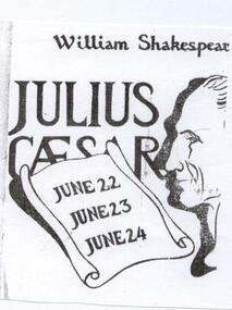 Program, Julius Ceasar by William Shakespeare directed by Tony Doogood