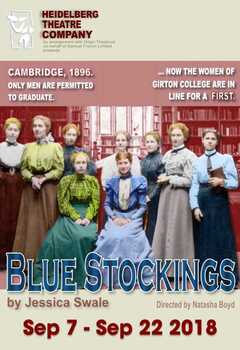 Multi coloured poster for the Heidelberg Theatre Company play Blue stocking