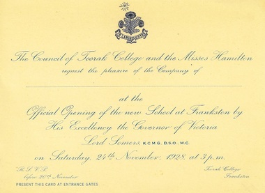 Invitation, Official Opening of the new school at Frankston, 1928