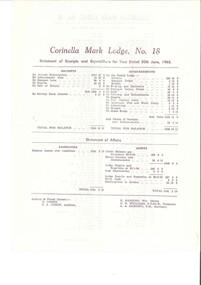 Document, Corinella Mark Lodge - Annual Report 30/06/1965, 30 June 1965