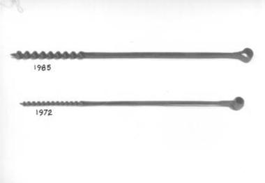 Long steel rod twisted into a corkscrew shape