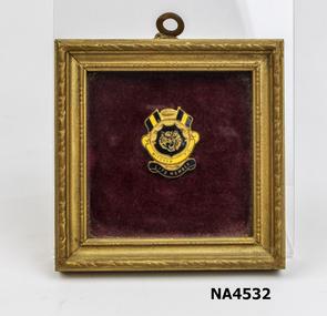 Framed Mitcham football club life membership badge.