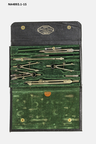 13 mathematical instruments in a fitted velvet lined case