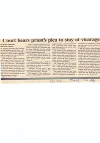 Article, Court hears Priest's plea to stay at vicarage, 29/04/1997 12:00:00 AM