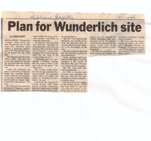 Article, Plan for Wunderlich site, 17/01/1996 12:00:00 AM