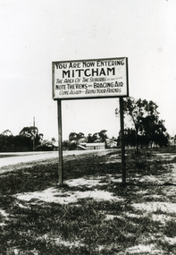 'You Are Now Entering Mitcham' Sign on Whitehorse Road, Mitcham C.1930's.