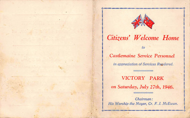 Programme, Citizens' Welcome Home to Castlemaine Service Personnel