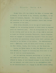 Australian Historical Record Society papers, Thomas J. Bath J.P