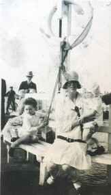 Photograph - Card Box Photographs, Florence Breakell & childen at View Point, Lake Wendouree circa 1928