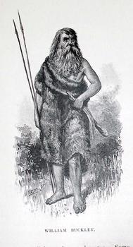 A drawing of a man in a possum skin cloak
