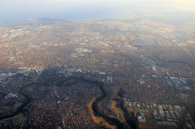 Aerial digital photograph, L.J. Gervasoni, Mouth of the Yarra River and Westgate on approach to Melbourne's Tullamarine Airport, 2016
