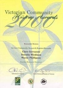 Award, Victorian Community History Award, 2000