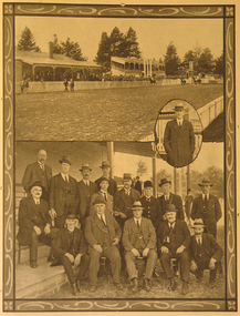 Image - Black and White, Ballarat Miners' Turf Club Showing Stands and Office Bearers, 1922