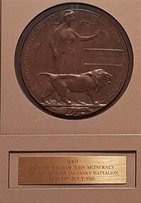 Memorial Plaque: [Dead mans penny]:, William John McInerney