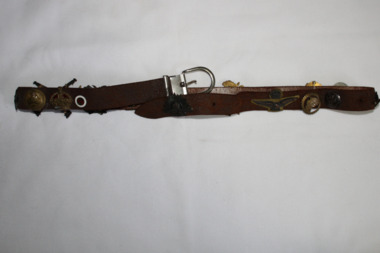 Leather Belt With Badges, Circa 1940's