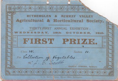 Certificate - Prize Certificate Rutherglen and Murray Valley Agricultural & Horticulture Society, 1910 (Exact)