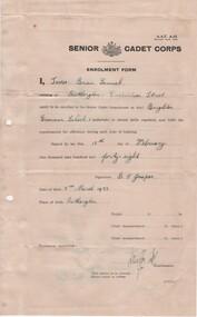 Document - Enrollment form Cadet Corps, 1948