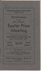 Programme, Programme of the 34th Annual Easter Prize Meeting, 1953 (Exact)