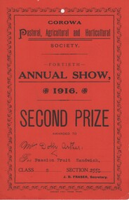 Certificate, Corowa Pastoral, Agricultural and Horticultural Society, Fortieth Annual Show, 1916