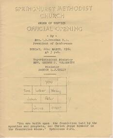 Programme - Program, Springhurst Methodist Church, Official Opening, 1964