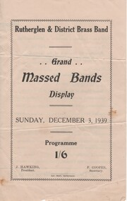 Documents, Grand Massed Bands Display, Sunday, December 3, 1939