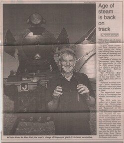 Newspaper article, Peter Batson, Age of steam is back on track by Peter Batson, 24/04/2000