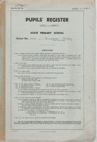 Document - School Records, Pupils' Register. State Primary School. School No. 522, Rutherglen