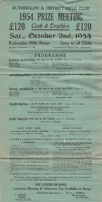 Programme, Rutherglen & District Rifle Club 1954 Prize Meeting, 1954 (Exact)