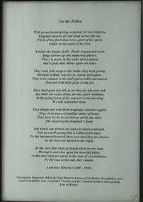 """Work on paper - Ode """"For the Fallen"""", poem"""
