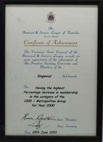 Work on paper - Certificate of achievment, memorabilia