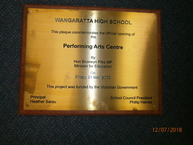 WHS Building Opening Plaque, 2010