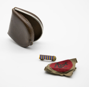 Container - Folding Leather Coin Purse, patch and medal bar