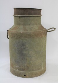 A large metal milk can with handles