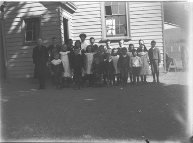 Group of children with their teacher outside Wodonga West Primary School