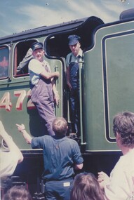 Driver and Fireman-Driver being given instruction on The Flying Scotsman